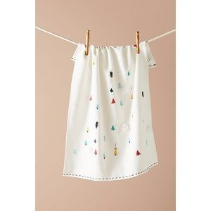 Anthropologie Embroidered Tree Dish Towels